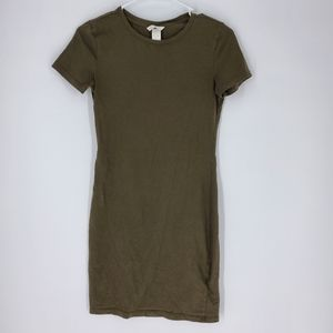 H&M olive green bodycon dress xs tshirt army
